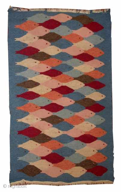 #1B547  Hand made antique Swedish Kilim 3' X 5' ( 91cm X 152cm ) C.1930