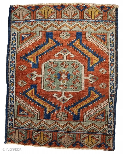 #1B543  Handmade antique collectible Turkish Yastik rug 1.8' X 2' ( 54cm X 60cm ) C.1870