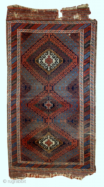 #1E02  Hand made antique collectible Afghan Baluch rug 2.5' x 5.10' ( 76cm x 181cm) 1900.C