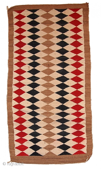 #1B57  Hand made antique American-Indian navajo rug 2.5' x 5.10' ( 76cm x 183cm) C.1920