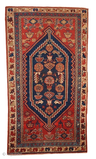 #1B223  Hand made antique Persian Shiraz rug 3.2' X 5.9' ( 97CM X 180CM ) C.1920