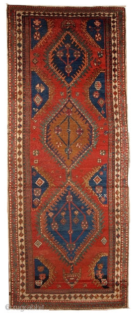 #1B430  Hand made antique Persian Karadjeh runner 2.10' x 8.10' ( 89cm x 272cm ) C.1920