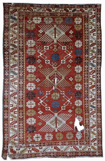 #1B09 Hand made antique Caucasian Shirvan rug 4.2' X 6.1' ( 128cm X 186cm ) C.1910