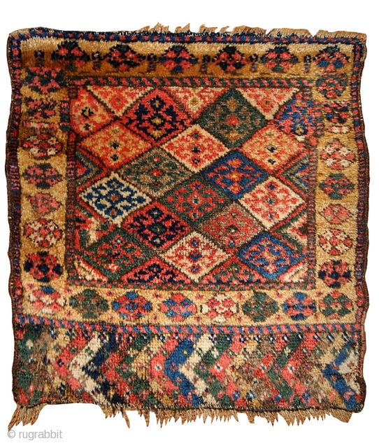 #1B359  Handmade antique collectible Persian Kurdish bag face 2' x 2' ( 61cm x 61cm ) 1880.C