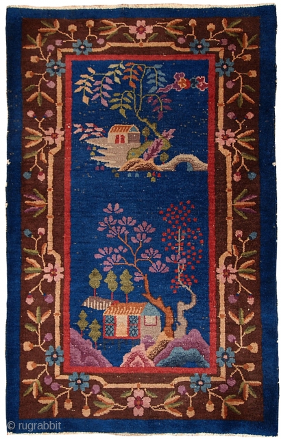 #1B375  Handmade antique Art Deco Chinese rug 3' x 4.10' ( 91cm x 150cm ) 1920.C