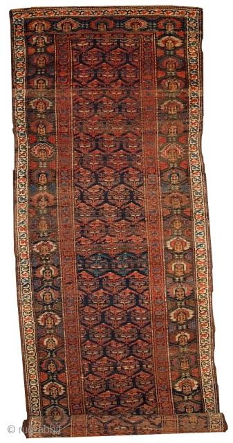 #1B431  Hand made antique Persian Kurdish runner 3.3' x 11.7' ( 100cm x 356cm ) C.1900