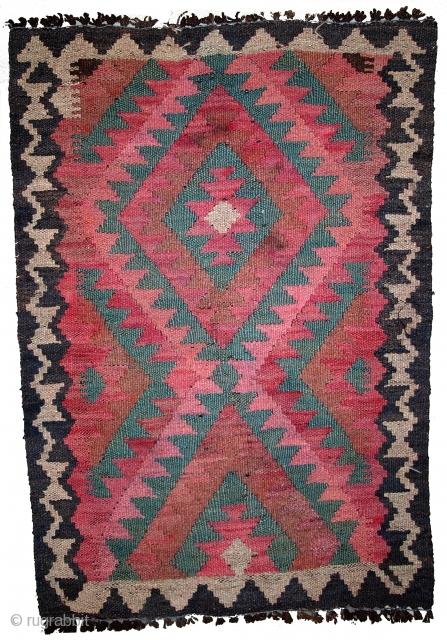 #1B447  Hand made vintage Afghan kilim 1.8' x 2.7' ( 55cm x 82cm ) C.1960