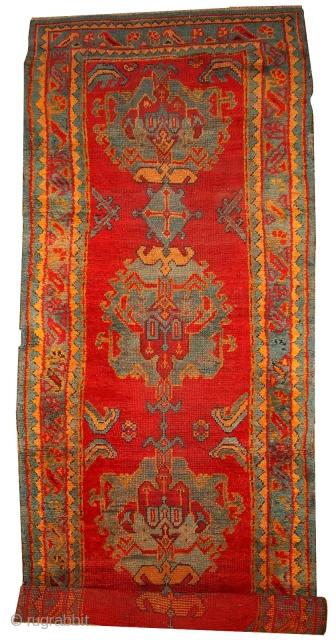#1B434  Hand made antique Turkish Oushak runner 4' x 11.2' ( 122cm x 341cm ) C.1890