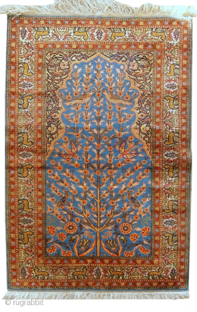 #1C297  Hand made antique prayer Turkish Kayseri rug 3' x 4.6' ( 93cm x 140cm ) C.1940