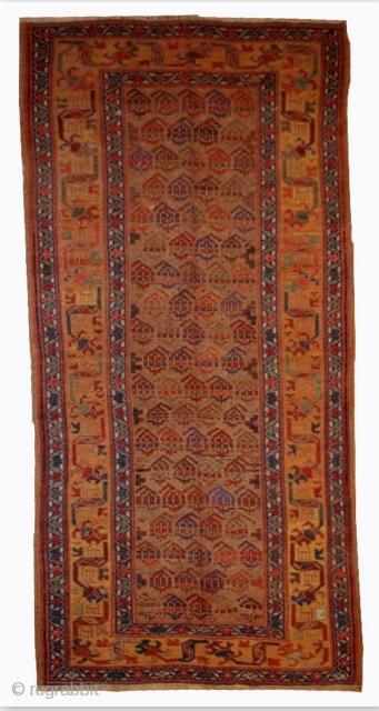 #1B413  Handmade antique Persian Kurdish rug 4.1' x 7.6' ( 125cm x 231cm ) 1880.C