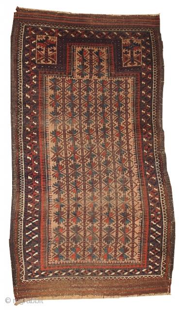 #1B394  Hand made antique collectible Turkoman prayer Baluch rug 2.10' x 5.3' ( 91cm x 161cm) C.1880