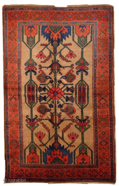 #1B422  Handmade antique Persian Kurdish rug 4' x 6' ( 122cm x 183cm ) 1900.C