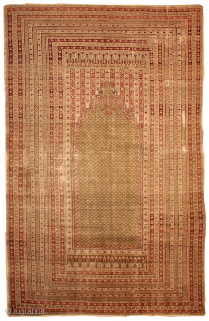 #1B427  Handmade antique Turkish Ghurdes prayer rug 4.10' x 7.3' ( 152cm x 222cm ) 1870.C