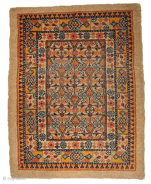 #1B344  Hand made antique collectible Persian Camel hair rug 2.3' x 3' ( 70cm x 91cm ) C.1900