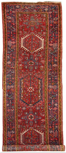 #1C285  Hand made antique Persian Karajeh runner 3.5' x 10.8' ( 108cm x 330cm ) 1920.C