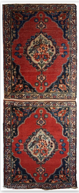 #1C356  Handmade antique collectible Persian Tabriz double mat rug 1.7' x 4.7' ( 52cm x 143cm ) 1910.C