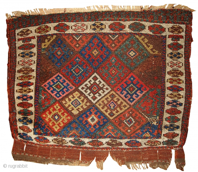 #1B341 collectible Northwest Persian Jaf Kurdish bag face 1.10' x 2.3' 1880, in original good condition.