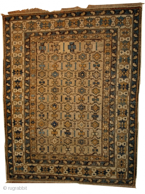 #1B473  Hand made antique Caucasian Shirvan rug 3.9' x 4.10' ( 119cm x 152cm ) C.1890
