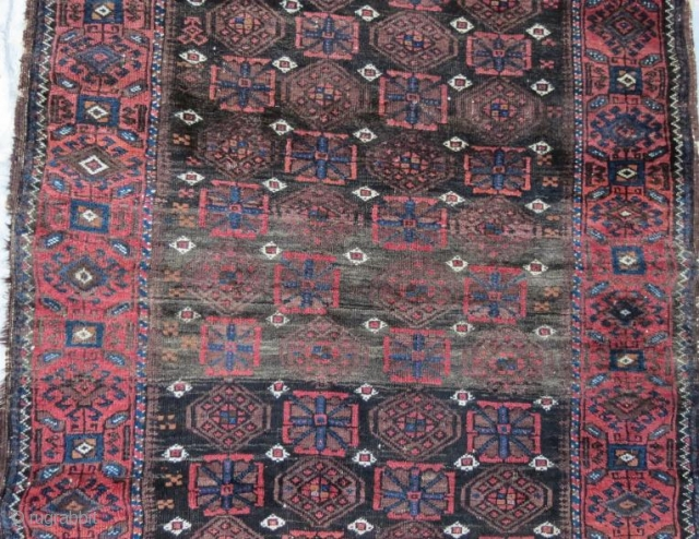 Antique Beluch rug, pure wool natural color with little damage .260 x 105 cm