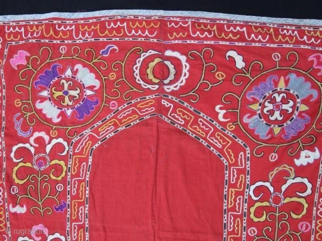 Uzbek Silk embroidery Suzani with little damage.130 x 115 cm