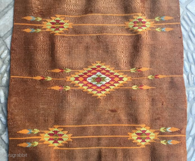 Syrian Halepo yastk pure wool natural color,with silver weaving has been little old repair.   size 70 x 50 cm