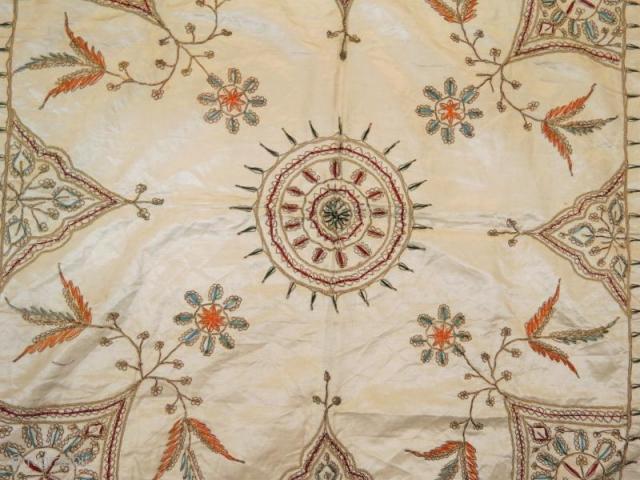 Ottoman silk textile with metal embroidery,80 x 80 cm . www.eymen.com.tr