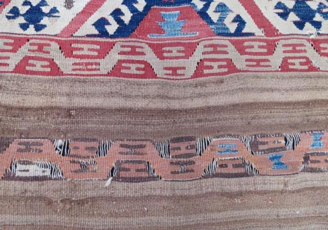 Early Anatolian kilim fragment, 90 x 85 cm. www.eymen.com.tr