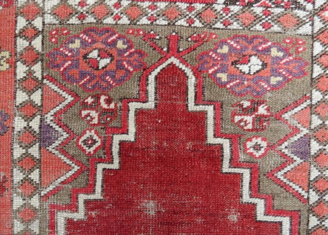 19th century Anatolian Rug With Damage .140 x 100 cm