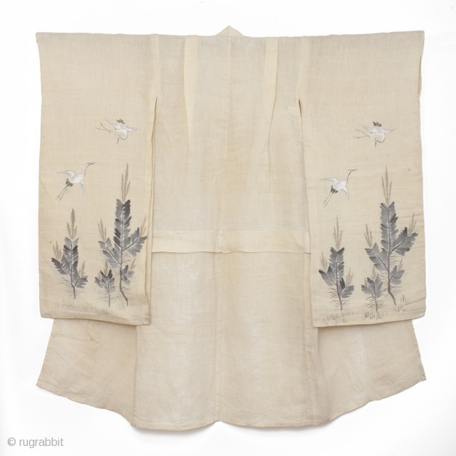 This is a beautiful girl&#039;s hemp kimono with hand painted motifs of crane and pine. For the Japanese, the crane--or tsuru--is considered a national treasure, appearing in art, literature and folklore. The  ...
