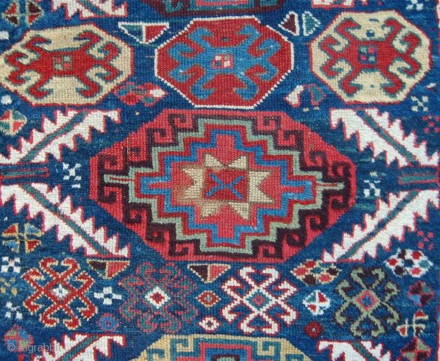Lovely  old Kurdish carpet. 317 x 118cm. Some wear and old poor repairs but lovely soft wool and great colour. Perhaps mid 19th.c.