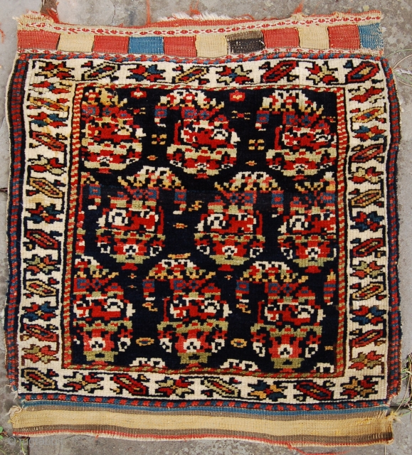 North west persian bag face. 19th century. All good colours and well drawn botehs. All wool foundation and a very soft handle. 68 x 62 cm.