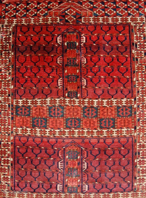 Antique Tekke ensi rug. Lovely quality. Circa 1870-80. Organic dyes. 132 x 114cm. One small repair to field and edge losses. Reasonably priced.