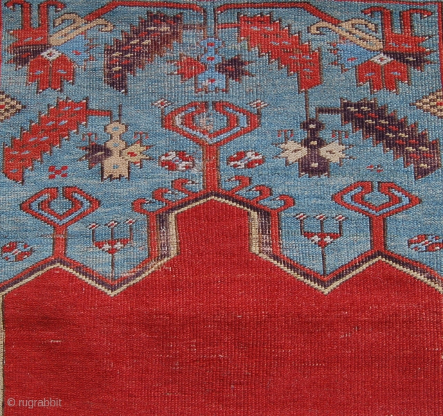 Ladik prayer rug. Circa 1800 in usable condition. 175 x 105cm aprox. Frayed ends and some sumak type repairs to the corroded browns. A handsom late classical turkish rug for the price  ...