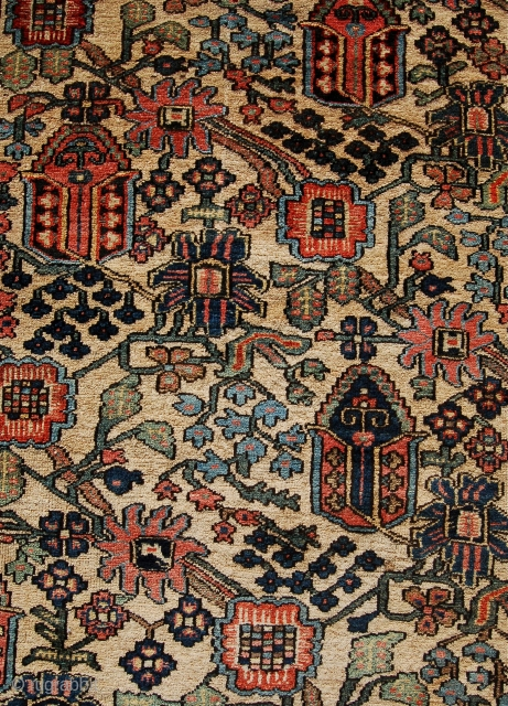 Charming Baktiari village rug. Early 20th century in good useable condition. 206 x 142cm.