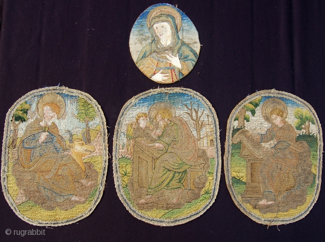 Antique ecclesiastical embroideries. One is 18 x 15cm and three are 27 x 22cm. Silk and metal thread. Probably 17th century with good colour and condition for their age.