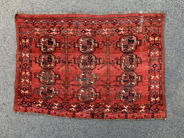 Good 12 Gul ersari chuval. Lovely madder red ground colour. Good pile with a faded old repair and a small patch in the elim.
