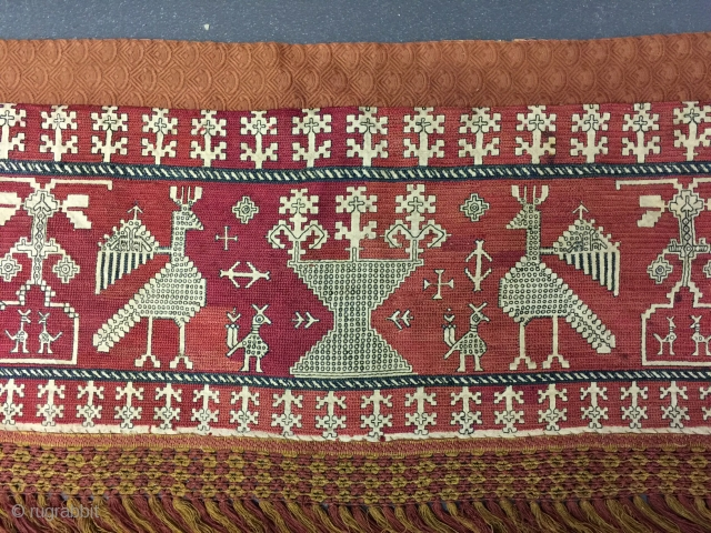 18th century Azemmour silk embroidery. Good condition. 155 x 27cm.[excluding later fringe]