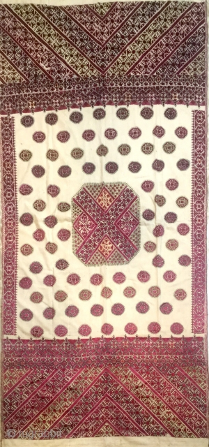 Shawl from Swat Valley(Pakistan) India. embroidered with shiny silk with base colour off white  .C.1900 the size of the Shawl is 229 cm X 108 cm