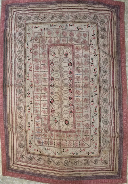 Very fine intricate needle work Kantha from joypurhat village of Rajshahi district of Bangladesh 1900 C. with the finest quilt of hand needle work embroidery the size of this Kantha is 164  ...