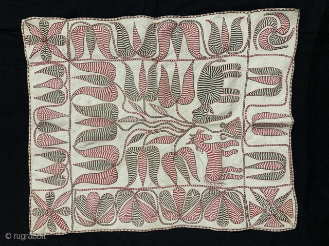 Kantha Quilted Embroidery with cotton thread Kantha Probably From Faridpur District,East Bengal(Bangladesh)region.India.C.1900 one of the finest work .Its size is 72 cms x 57 cms