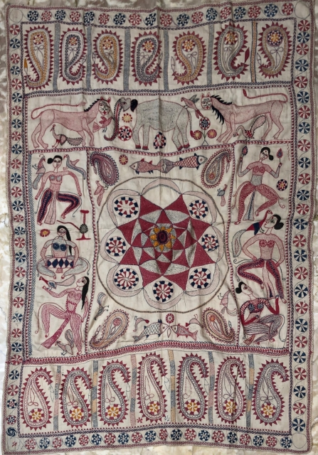 Beautiful vintage Kantha from Murshidabad district of West Bengal India 1900 C. With very good class of  needle embroidery of the mango designs,Apsaras,Lions,birds and elephant in the Kantha.the Kantha is in  ...
