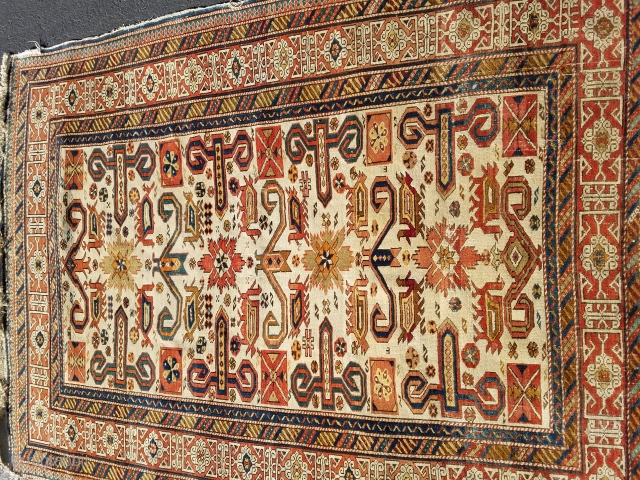 Antique Kuba Perpedil rug 3.10 x5.2.  Has a little bit of loss on the sides, but top and bottom are complete.