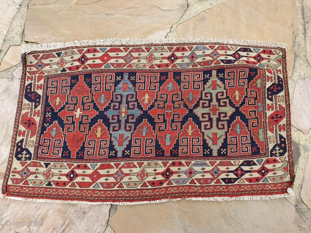 19th century Shahsavan soumak mafrash panel. 1.6 x 2.6 ft.5t Great saturated colors. Spacious and refined drawing used with the cruciform motif. no repairs and fine weave.