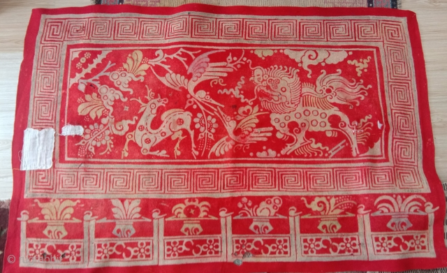 superb red felt not mongolian nor from gansu.... 18th century