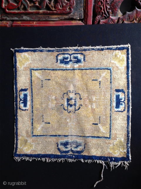 the geometry outlined by the blue color is remisniscent of early tibetan mandala. an interesting and surely, on a closer look, unusual, not restored ningxia mat from early 18th century . not  ...