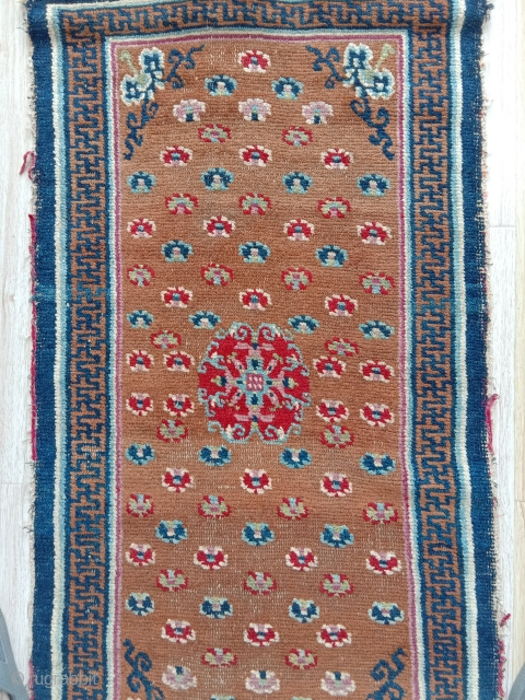 superb mid 19th c. tibetan khaden with fantastic natural colors  and wool ,.yes the intense red is absolutely natural too... superbly woven, rare central medallion