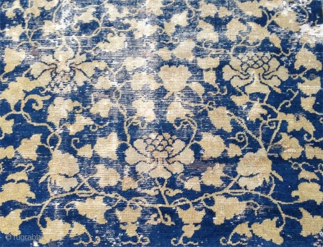 "17th century kangxi era carpet. for a very similar design please see the famous ""yamanaka lotos and paeonien teppich"", #17 in glanz der himmelssoehne. not in good condition but surely a  ..."