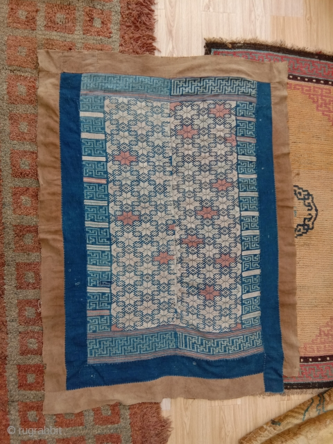 very beautiful an complete southwest china buyi blanket...mid 20th c.