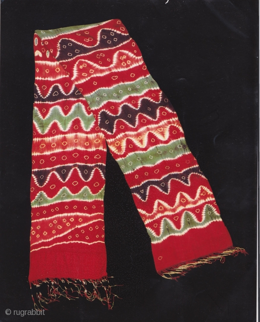 Indonesian Balinese textiles  Indonesia - Bali 006 - (288cm x 45cm - 113in x 18in), Ceremonial cloth, Pelangi, silk, dyes stitch resist dyeing, tie - dyeing, 80 -100 years, small stains, repairs  ...