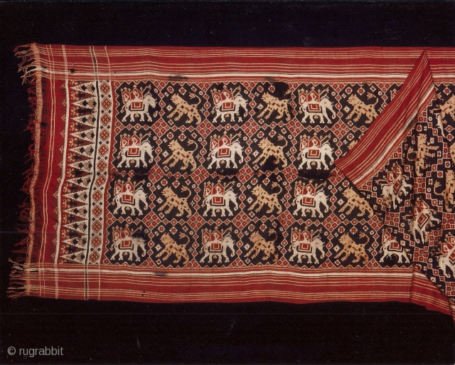 Indian trade textiles 004 – (390cm x 112cm – 153.5 in x 40in), silk patola double ikat, ceremonial cloth and sacred heirloom, elephants & lions, 18th century, various medium and small damages,  ...